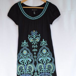 INC Embroidered Shift Dress in Black (Size S)